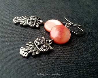 Owl with Orange Mother of Pearl Hypoallergenic Earrings