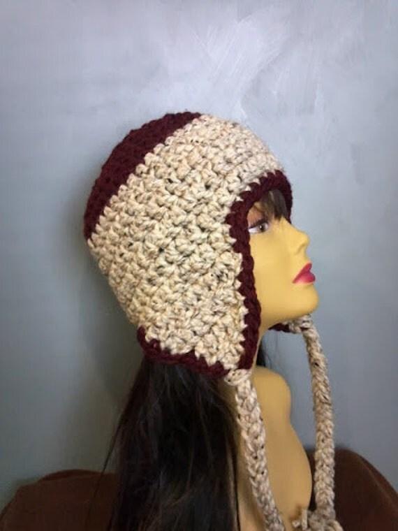 aviator hat womens hat crochet earflap beanie hat winter