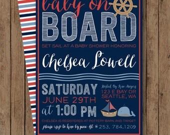 Nautical Baby Shower Invite - Baby Boy/Girl Baby Shower - Gender Neutral - Baby On Board