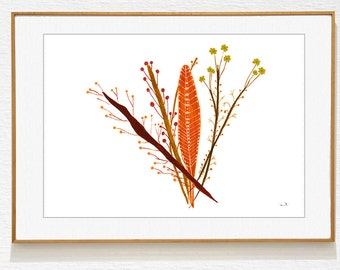 Botanical Art print, Wall art, bohemian art, contemporary decor, Southwestern art Nature Art, still life Archival Print neutral colors