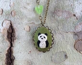 Giant PANDA - hand embroidered necklace, panda, bear, zoo, animal, bamboo, needlework