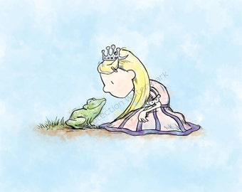 Princess and the Frog Art Print for Children's Room/ Nursery...8x10