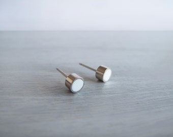 Tiny Silver White Stud Earrings - Hypoallergenic Surgical Steel Posts
