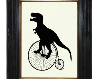 Silhouette Dinosaur Art Print Penny Farthing T-Rex Art Print Unicycle Bicycle Bike Victorian Steampunk Tyrannosaurus Dino