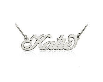 SALE! Small Carrie Name Necklace - Sterling Silver Personalized Name - Smaller Mini Nameplate Necklace - Any Name Customized - Free Shipping