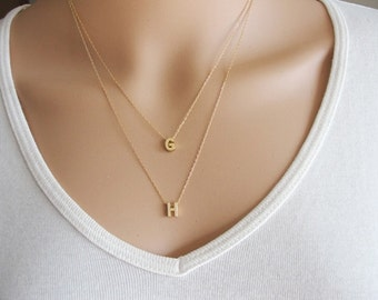 Gold Layered necklace, Gold initial Layered Necklace, Gold initial Necklace,layering necklace,Tiny Initials Layered Necklace