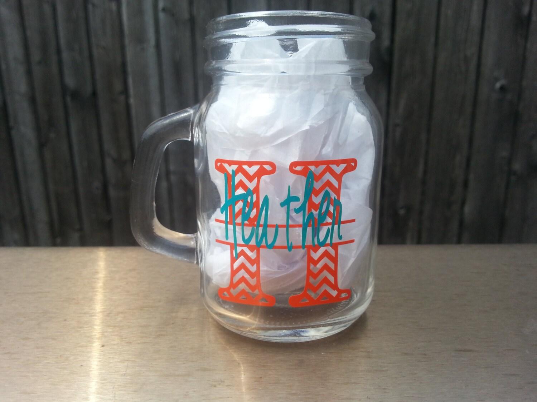 9 personalized mason jar shot glasses chevron by youdreamitdesigns - Mason jar goblets ...