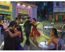 Tango Cafe POSTER or PRINT on CANVAS Art Tango Dancing Couple, Argentine Tango Art, Romantic Couples, Buenos Aires