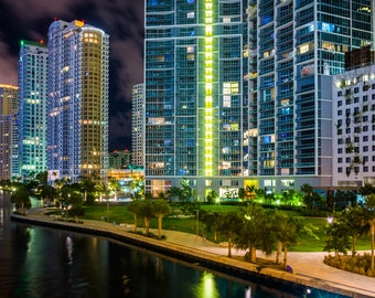 Buildings along the Miami River at night, in downtown Miami, Florida. - Urban Photography Fine Art Print or Wrapped Canvas
