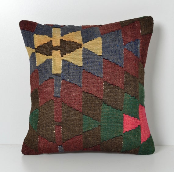 Throw Pillows King Size Bed : Kilim Throw Pillow 16x16 Organic Shine Hand Woven Wool