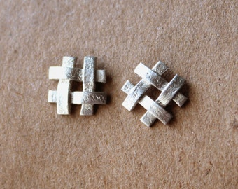 Sterling Silver Check Earrings - Silver Post Earrings -  Number Sign