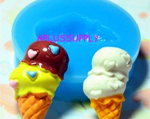 XYL042 Double Scoops Ice Cream Cone Silicone Mold Flexible Mold Miniature Food Sweets Jewelry Charms (Clay Fimo Epoxy Gum Paste Fondant)