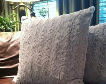 Gray Faux Chinchilla Fur Pillow Covers - You Choose the size!