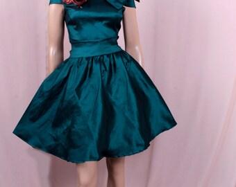 Plus Size Bridesmaid Dark Teal taffeta /party /prom /graduation/formal/ evening dress