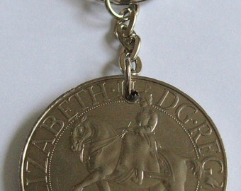 1977 Silver Jubilee Crown Coin Keyring Key Chain Fob Queen Elizabeth 2nd Reign