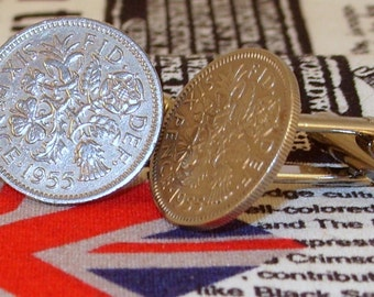 Boxed Pair Vintage British 1955 Lucky Sixpence Six Penny Coin Cufflinks Wedding 62nd Birthday Anniversary