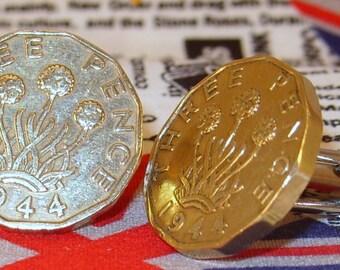 Boxed Pair Vintage British 1944 Threepence 3d Coin Cufflinks Wedding 73rd Birthday