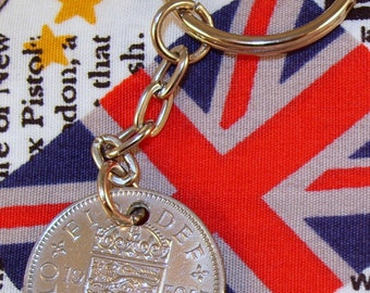 1959 Old English Shilling Coin Keyring Key Chain Fob Queen Elizabeth
