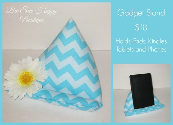 Cute Tablet Pillow : Teal Aqua Tablet Stand Cute Desk Accessory by BeeSewHappyBoutique