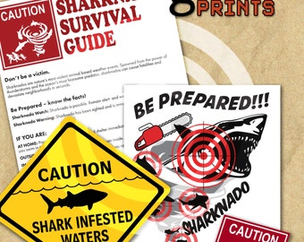 Sharknado & Jaws Printable Signs - Shark Theme Party