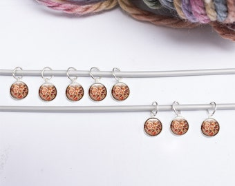 Knitting Gifts - Stitch Markers, Floral Stitch Markers, Flower Knitting Stitch markers, set of stitch markers Knitting supplies (flower 7)