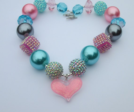 bubblegum necklace chunky gumball pink teal