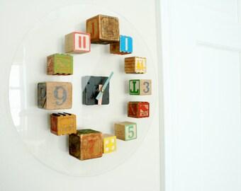 Children's Antique Toy Blocks Clock