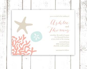 Beach Wedding Invitation Set, Beach Invitations with Coral, Starfish, Sand Dollar, Summer Wedding Invitations