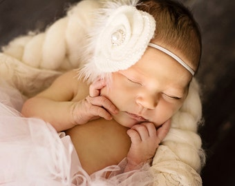 Pure White Feather Pearl Crochet Headband Preemie to Adult