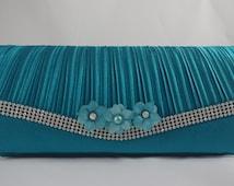 Aqua Evening Clutch, Formal Clutch, Aqua Flower Bridesmaid Clutch, Light Blue Green Satin Clutch, Acrylic Flower Handbag Tiffany Blue Clutch