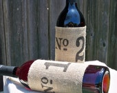 Number Personalized Burlap Wine and Bottle reusable slip on sleeve to fit on most bottles for table marker and gifts