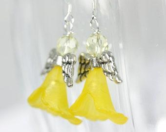 Yellow, Citrine Angel Earrings on Sterling Silver, Angel Earrings, Handmade earrings, Handmade angels