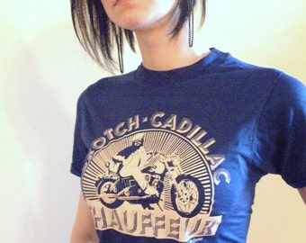 Vintage 80s Biker Rally Tee Shirt, Funny Harley Motorcycle Crotch Cadillac Chauffeur Print on Blue Dead Stock!!
