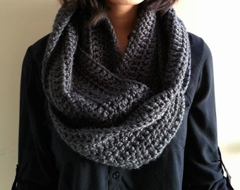 SALE Charcoal Gray Infinity Scarf Crocheted