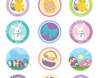 Easter Cupcake Toppers. Happy Easter Cupcake Toppers. INSTANT DOWNLOAD.