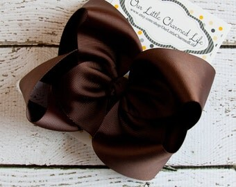 Brown XL Hair Bow, Extra Large Brown Hair Bow, Brown Hairbow, Brown Boutique Hair Bow, Brown Hair Clip, Large Fall Hair Bow, Big Hair Bow