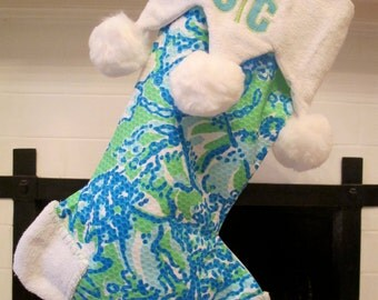 lilly pulitzer monogrammed stocking with jester cuff