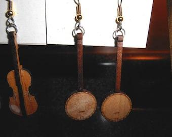 Clawhammer Banjo Earrings