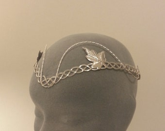 Elven tiara silver leaf circlet medieval headpiece Celtic design