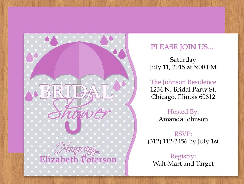 Purple Umbrella Bridal Shower Invitation Editable Template