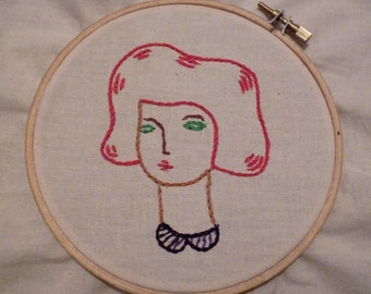 Hand Embroidery Red Hair