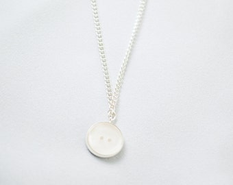 White Necklace - White Jewelry - Button Necklace - Button Charm - Minimalist Necklace - Cute Necklace - Button Jewelery - White Pendant