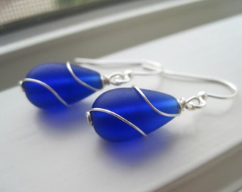 Royal Blue Earrings - Sea Glass Earrings - Sea Glass Jewelry - Cobalt Blue Earrings - Cobalt Blue Bridesmaid Jewelry - Wire Wrapped Earrings