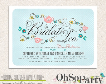 BRIDAL TEA Custom Bridal Shower Invitation Card