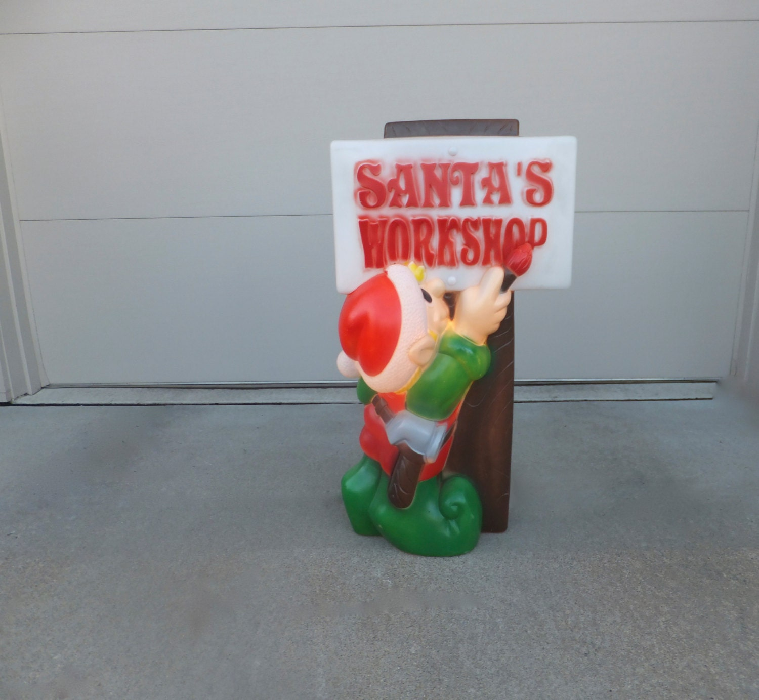 Vintage elf christmas blow mold lighted outdoor by retrovintageous