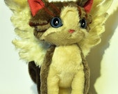 Fantasy winged cat/ soft toy cat / original LELUKO/ hand made toys/ stuffed toys/ grey kitten - LelukoToys