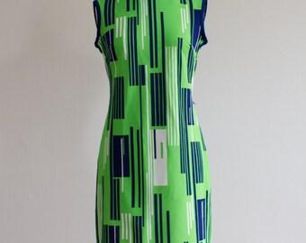1960's MOD Retro Geometric Neon Dress / Size M