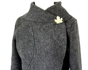 Women boiled wool Jacket anthrazit charcoal size Xs-L