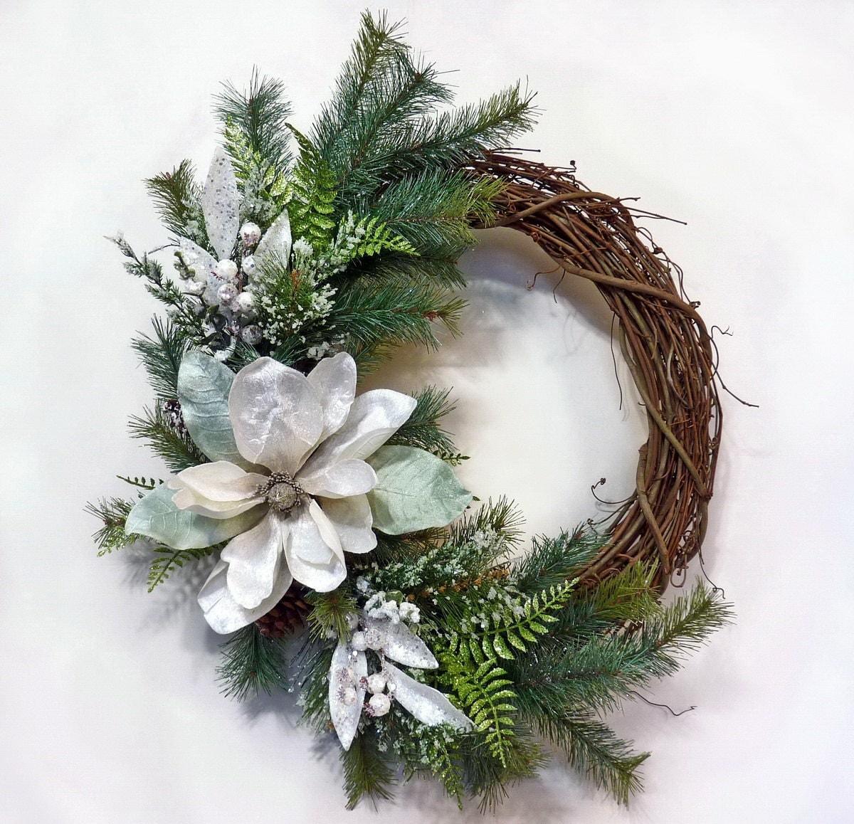 Winters mist winter wreath holiday wreath front door for Front door xmas wreaths