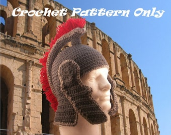 Roman Helmet with chin guards and fringed crest - crochet - PATTERN ONLY